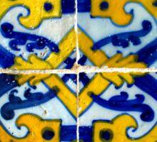Portuguese azulejos. Blue and yellow border  Sticker