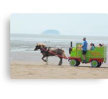 Sparkle Horse carriage on Beach Canvas Print