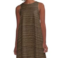 Sepia Wood Grain Texture A-Line Dress