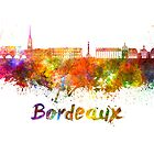 Bordeaux skyline in watercolor by paulrommer