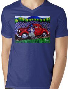 J C 1931 Fishing in Red Mens V-Neck T-Shirt