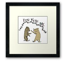 Baby Bear Cubs Play Fighting Children's Illustration Framed Print