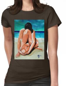Alone With My Thoughts Nude Female Figure Beach Ocean Womens Fitted T-Shirt
