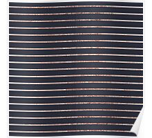 Elegant Chic Rose Gold Stripes and Navy Blue Poster