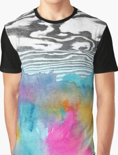 Modern colorful watercolor abstract wood grain Graphic T-Shirt
