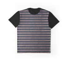 Elegant Chic Rose Gold Stripes and Navy Blue Graphic T-Shirt