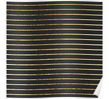 Elegant Chic Yellow Gold Stripes and Black Poster