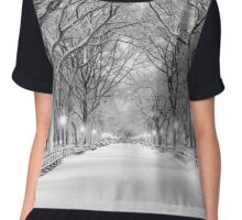 Cental Park New York, NY  winter scene Chiffon Top