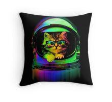 Cool kitten on the helmet Throw Pillow