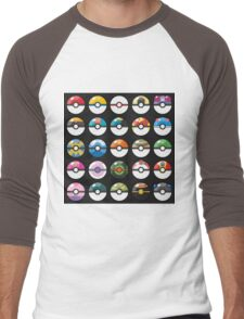 Pokemon Pokeball Black Men's Baseball ¾ T-Shirt