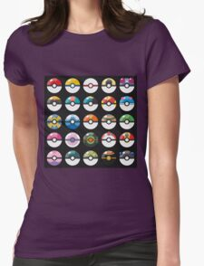 Pokemon Pokeball Black Womens Fitted T-Shirt