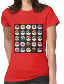 Pokemon Pokeball Black Womens Fitted T-Shirt