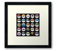 Pokemon Pokeball Black Framed Print