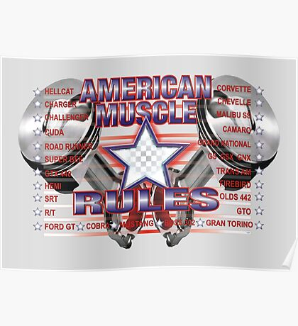 American Muscle Rules Poster
