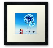 Small house and magical trees. Framed Print