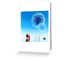Small house and magical trees. Greeting Card