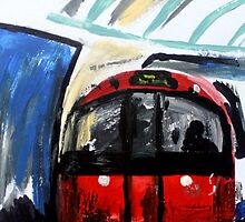 London Underground Piccadilly Line Tube Station Contemporary Acrylic Painting by JamesPeart