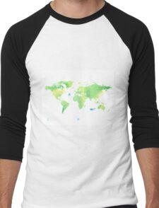Green planet World map Men's Baseball ¾ T-Shirt