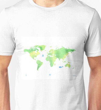 Green planet World map Unisex T-Shirt
