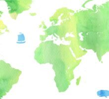 Green planet World map Sticker