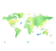 Green planet World map Photographic Print