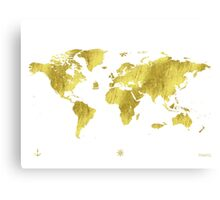 Golden ONE Wolrd map Canvas Print