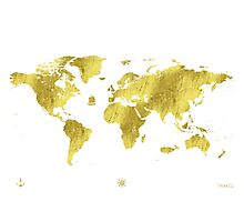 Golden ONE Wolrd map Photographic Print