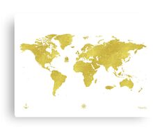 GOLDEN TWO World map Canvas Print