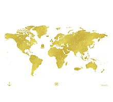 GOLDEN TWO World map Photographic Print