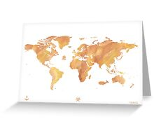 World map stone watercolor Greeting Card