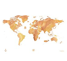World map stone watercolor Photographic Print