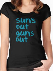 Sun's Out Guns Out - 22 Jump Street Women's Fitted Scoop T-Shirt