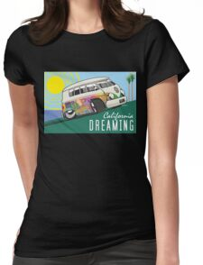 VW T1 cartoon California dreaming Womens Fitted T-Shirt