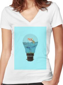 Surreal fish tank Women's Fitted V-Neck T-Shirt