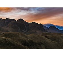 Sunset Scene at Cajas National Park in Cuenca Ecuador Photographic Print