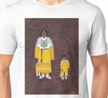 Native American Indian Family Leather Unisex T-Shirt
