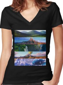 ZOOTOPIA's SCENERY Women's Fitted V-Neck T-Shirt
