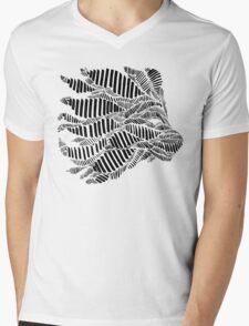 Stripes and Lion Head Mens V-Neck T-Shirt