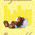 Sleeping Ted - Baby Yellow (Greeting Card) by ifourdezign