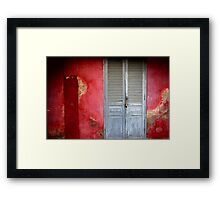 RED and Faded Blue doors in Phnom Penh-Cambodia. Framed Print
