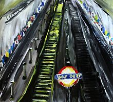 London Underground Urban Cityscape Jubilee Line Subway Station Escalators Contemporary Acrylic Painting by JamesPeart