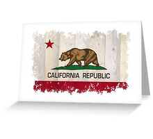 California Republic state flag - distressed edges on spruce planks Greeting Card
