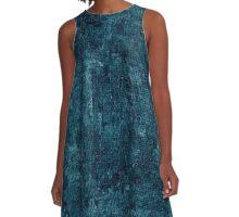 Blue Coral Oil Painting Color Accent A-Line Dress