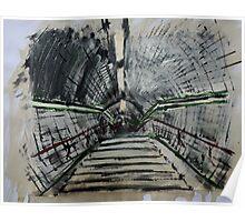 London Underground Urban Cityscape Subway Station Contemporary Acrylic Painting Poster