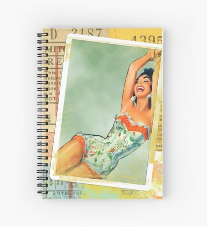 Vintage Happy Sexy Girl Stamp Spiral Notebook