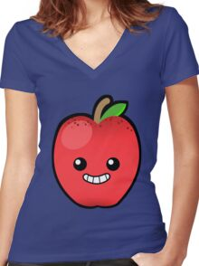 Red Delicious Apple Women's Fitted V-Neck T-Shirt