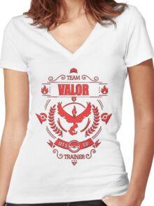 Choose Team Valor! | Pokemon GO! Women's Fitted V-Neck T-Shirt