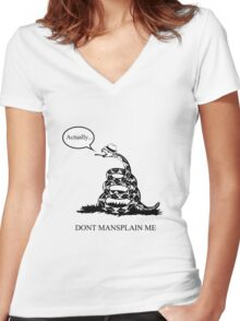 Don't Mansplain Me Women's Fitted V-Neck T-Shirt
