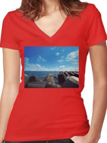 black sea Women's Fitted V-Neck T-Shirt