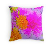 Hot Pink & Gold Floral Throw Pillow